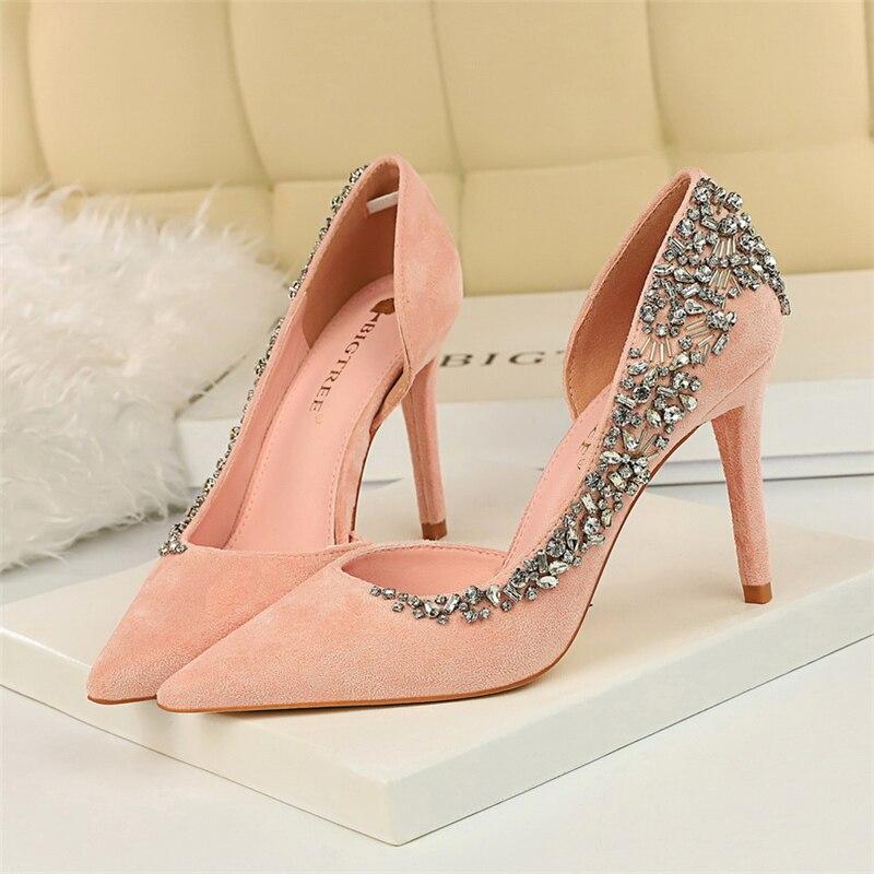 2020 European Wedding Shoes Female Rhinestone Crystal Pink Nude Heels Stiletto Fashion Pointed Toe Red High Heels Bridal Shoes