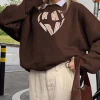 women loose sweater adults casual letter print long sleeve round neck pullover brown