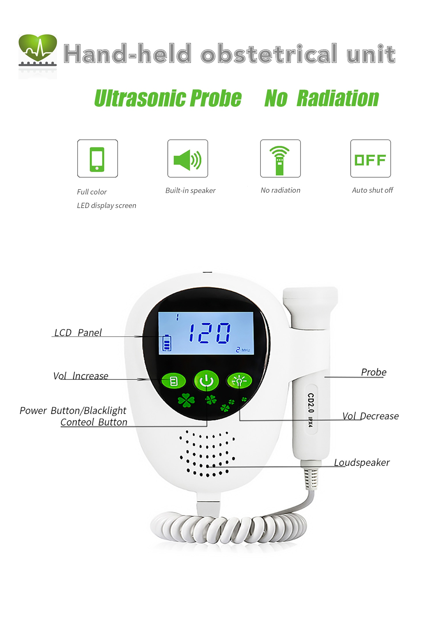 Ultrasound Doppler Baby Heart Detector Fetal Heart Rate Monitor Fetus-Voice Meter with LCD Display Pregnancy Care No Radiation