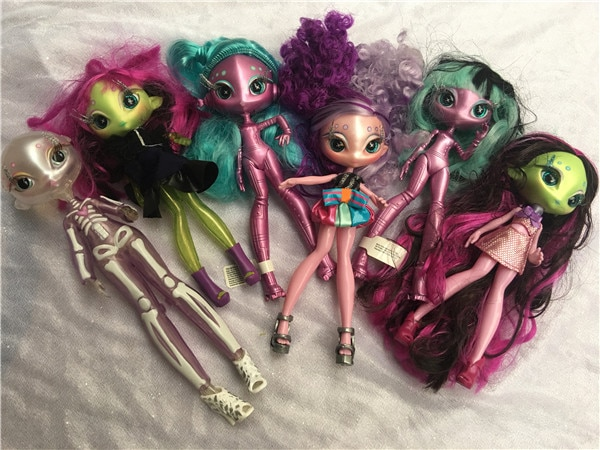 Muñecos de monstruos de Una cara, juguete para niña, regalo de cumpleaños, muñeco de pelo largo mini Stars MGA, muñeco de 20cm con ropa, juguete de DIY para muñecas, regalos de cumpleaños