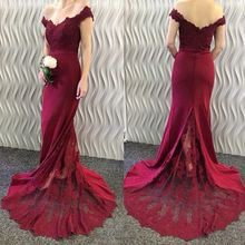 Burgundy 2019 Cheap Bridesmaid Dresses Under 50 Mermaid Off The Shoulder Lace Long Wedding Party Dre