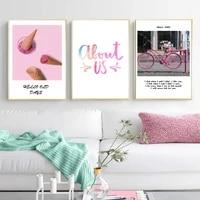 Toile dart mural avec citations de creme glacee rose douce  peintures et affiches dart mural pour chambre de filles  cadeaux pour enfants  decoration de maison