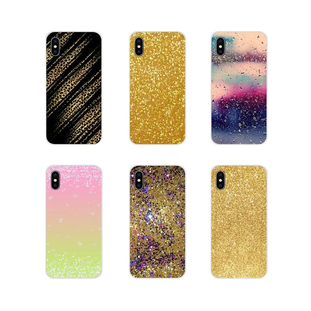 Para Apple iPhone X XR XS MAX 4 4S 5 5S 5C SE 6 6S 7 7 Plus ipod touch 5 6 funda de teléfono de diseño nuevo estilo brillo oro Bling