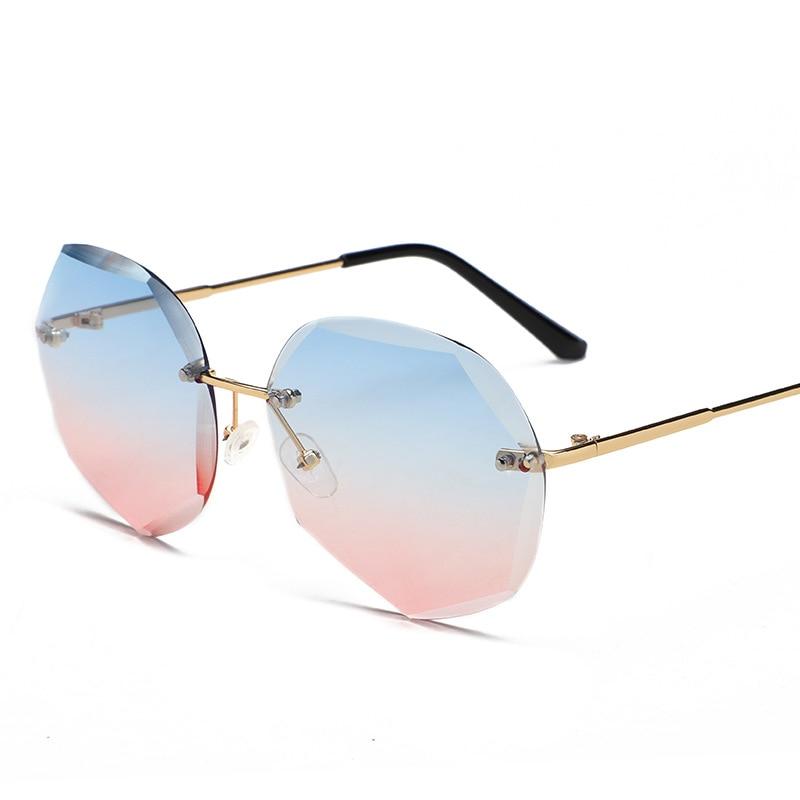 Fashion Rimless Gradient Sunglasses Women Brand Designer Shades Cutting Lens Metal Frames Vintage Su