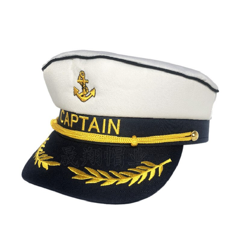 Venta al por mayor de fábrica gorra de capitán de trigo gorra de marinero ancla Marina viento etapa Halloween sombrero