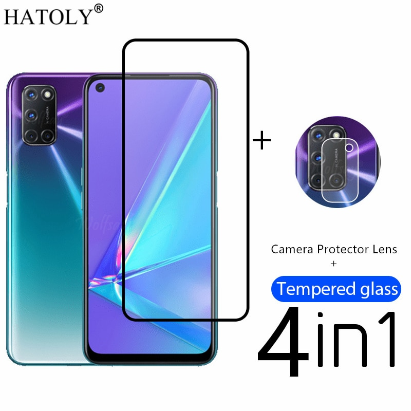 4in1 Protective Glass For OPPO A72 A73 A74 Tempered Glass OPPO A72 Screen Protector Phone Film OPPO A16 A15S A52 A32 A74 A95 A94