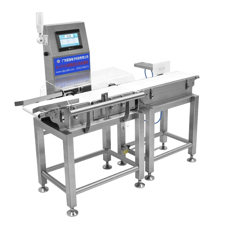 Online FoodBags Package Conveyor Checkweigher Combined Machine Food Metal Detector And Checkweigher With Pusher Rejector