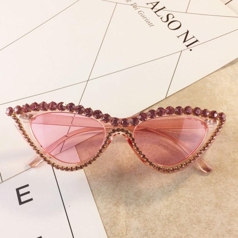 Vintage Luxury Crystal Diamond Cateye Sunglasses Women Brand Designer Black Pink Frame Cat Eye Sun Glasses Bling Bling Eyewear