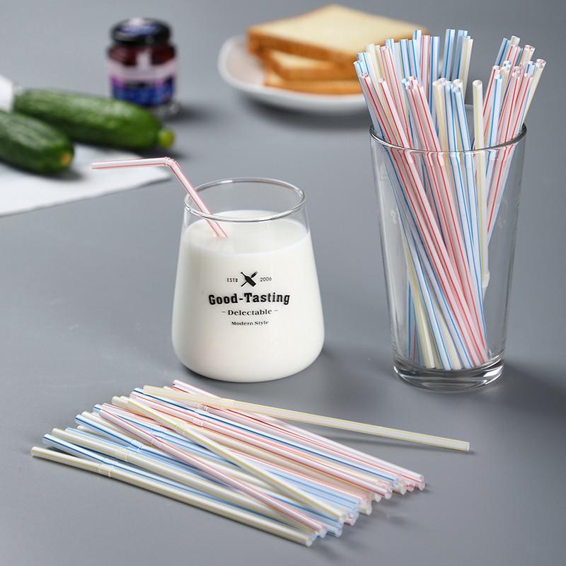 Disposable Plastic Drinking Straws Multi-Color Bendable MilkTea Milkshake For Wedding Birthday Party Supplies Bar Accessories