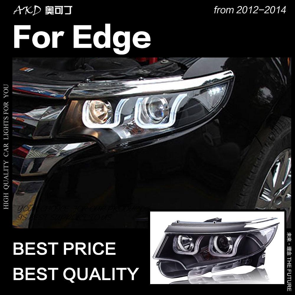 AKD-مصباح أمامي لسيارة Ford Edge 2012-2014 ، مصباح أمامي LED DRL Hid ، عين الملاك ، شعاع زينون ، ملحقات