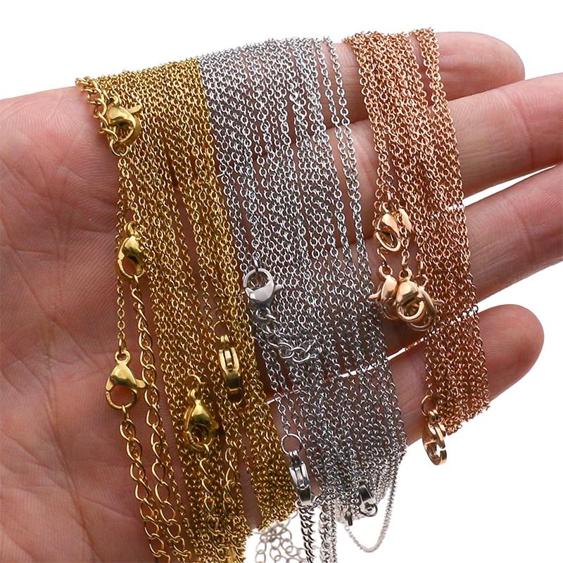 1mm 10pcs Stainless Steel Rose Gold Cut Rolo Link Cuban Chains Color 45+5CM long Necklaces choker Women/Men Pendant Bulk Sale