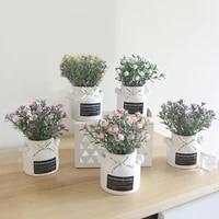 1pc potted artificial flower diy garden wedding party decor desktop decor for home garden balcony decor plant artificial bonsai