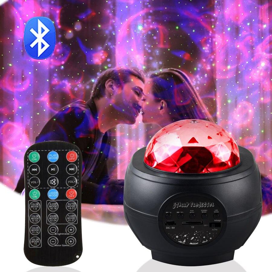 LED ستار العارض بلوتوث التحكم موجة المياه النجوم ليلة ضوء لغرفة رومانسية جو ليلة مصباح عيد الحب هدية