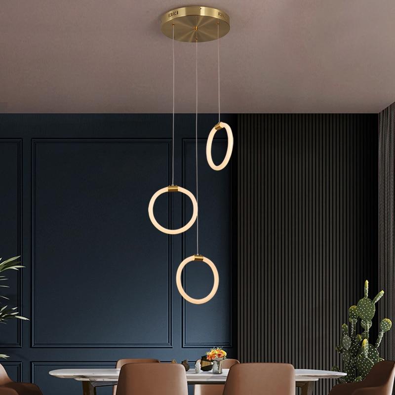 Modern led pendant lights modern design for living room bedroom study hanging lamp Gold body Restaurant kitchen pendant lamp