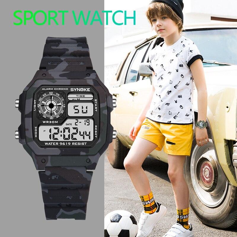 Детские военные часы PANARS, Детские камуфляжные светодиодные спортивные детские часы для мальчиков, противоударные водонепроницаемые яркие ...