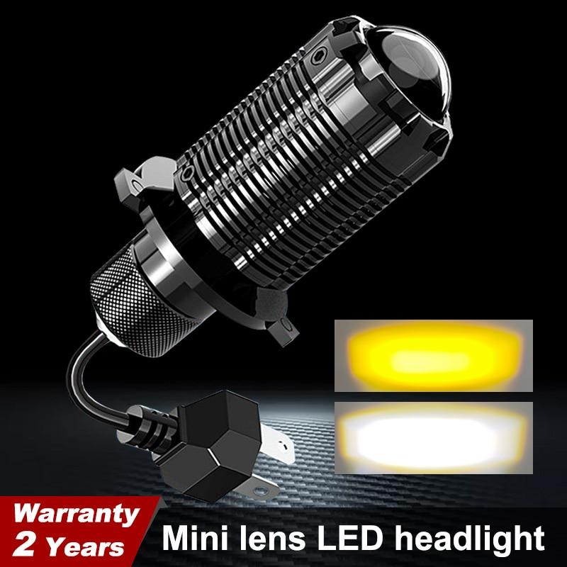 1X motocykl Led H4 Hs1 żarówki reflektorów Mini bi-led soczewki reflektorów Moto 48W 6000K Hi Lo lampa skuter akcesoria ATV światła przeciwmgielne