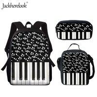 Jackherelook Casual Middle School Backpack for Girls Music Note Piano Keyboard Print 3Set School Bags 15 inch Bookbags Mochilas