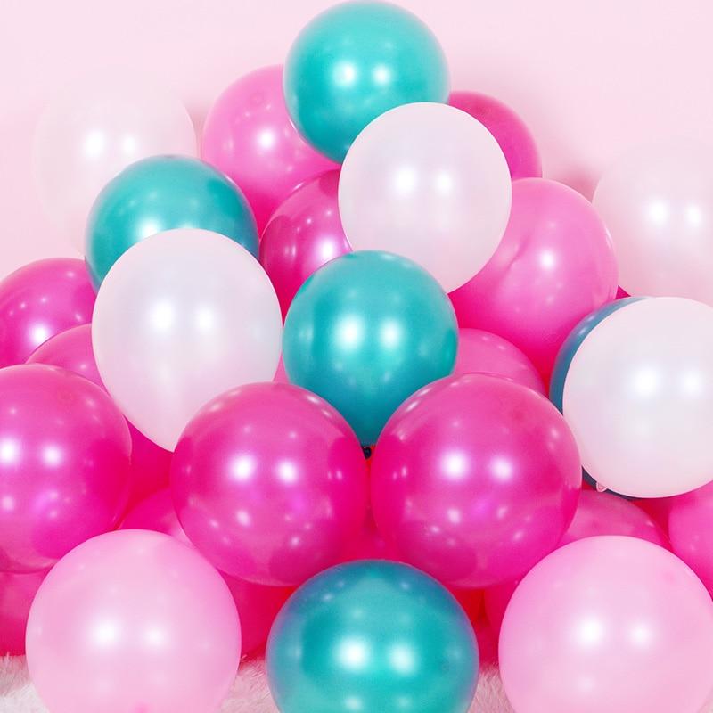 """50 unids/lote 10 """"1,5g Globos de látex rosa perla blanco Feliz Año Nuevo celebración de la boda decoración Feliz cumpleaños fiesta Globos suministros"""