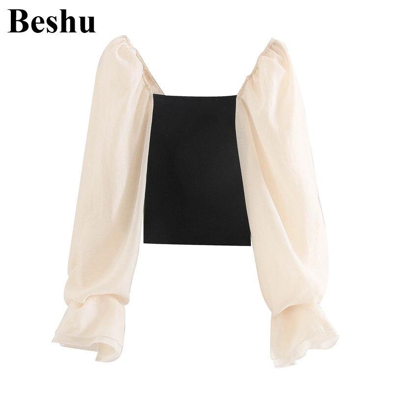 Za 2020 mode bluse frauen quadrat kragen elastische tops elegante chic mesh gestrickte splict bluse weibliche puff hülse blusas mujer