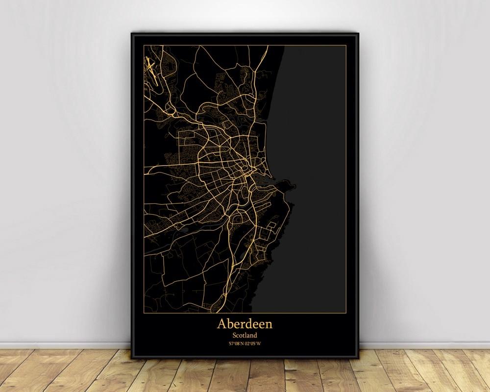 Aberdeen Escocia, mapas de luz de ciudad negro y dorado, mapa de...