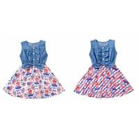 baby girls dress summer round neck bow button sleeveless unique independence day print denim stitching a line princess dress
