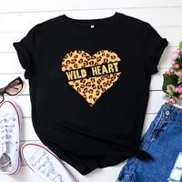 2021 summer oversized womens t shirts leopard wild heart printed t shirt o neck women clothes short sleeved t shirt women tops