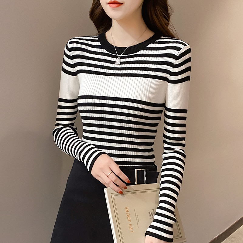 Sweater Women for Winter 2021 Fashion Autumn striped Elasticity Long Sleeve Pullover Female Slim Fit Jumper ropa mujer недорого