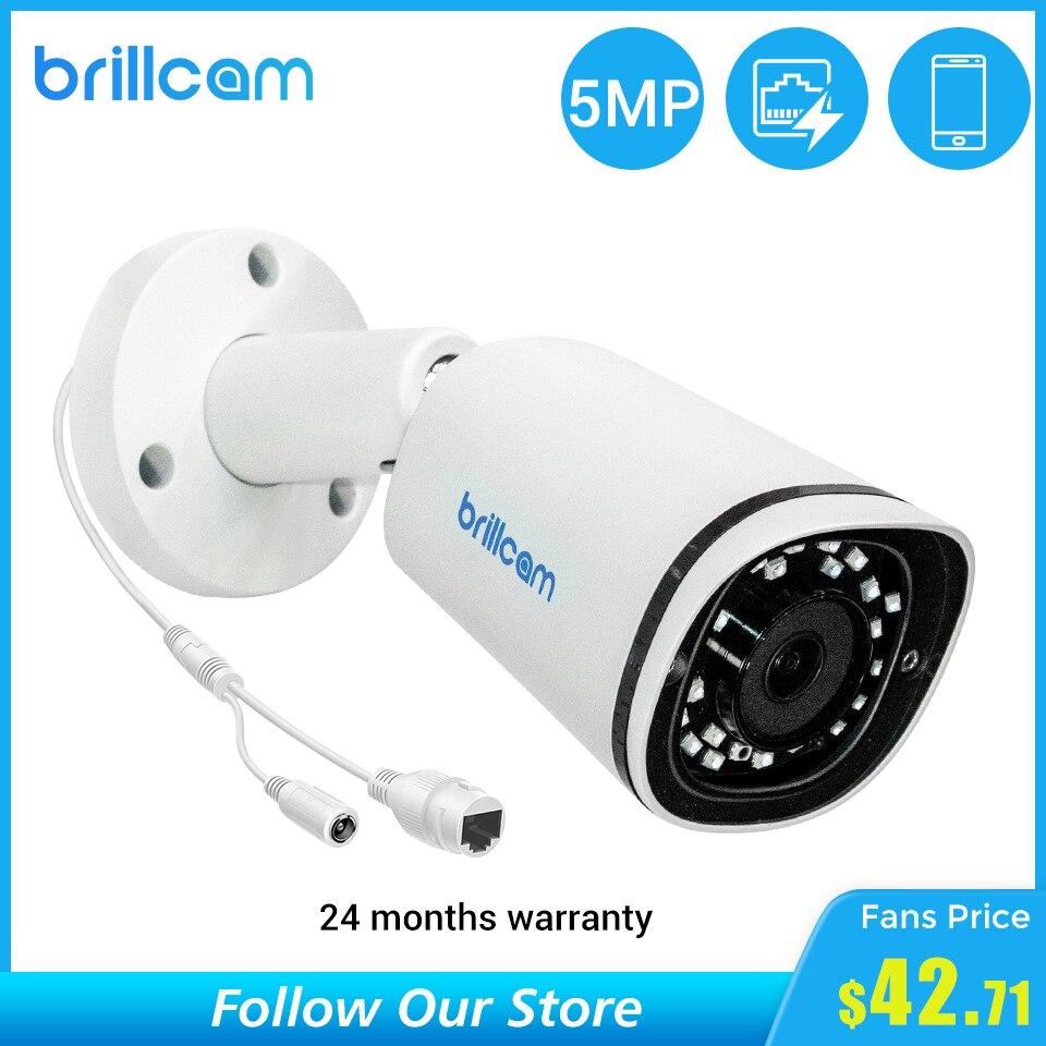 Brillcam 5MP IP Camera Outdoor Built-in Mic IR Night Vision Waterproof Video Surveillance Camera for Home Smart POE IP Cameras