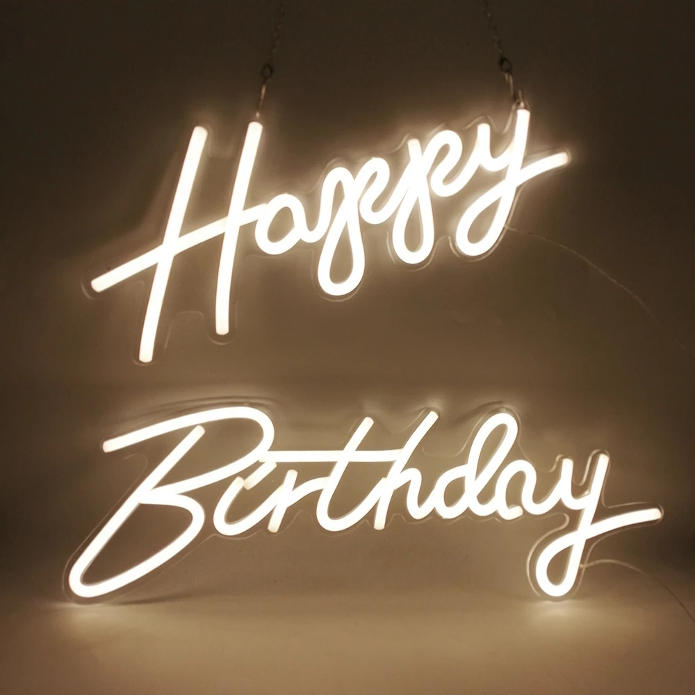 Happy Birthday Decor Customized Letter Sign Led Kid Gift Custom Neon Light Signs Bedroom Live Room Home All Decor Led Light Lamp enlarge