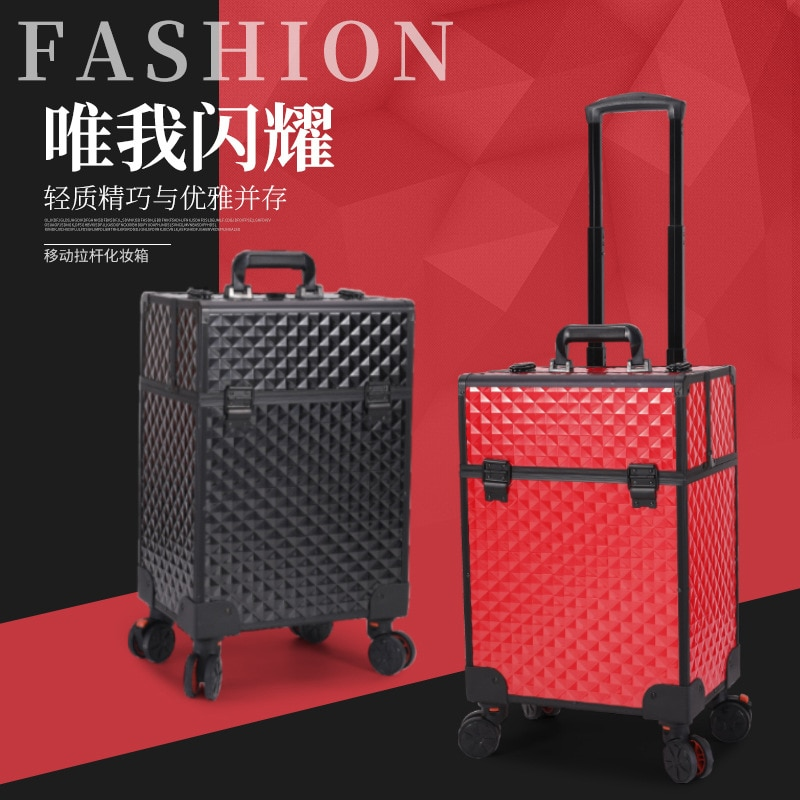 Genuine large-capacity cosmetic case, manicure and hairdressing storage box, universal wheel luggage case