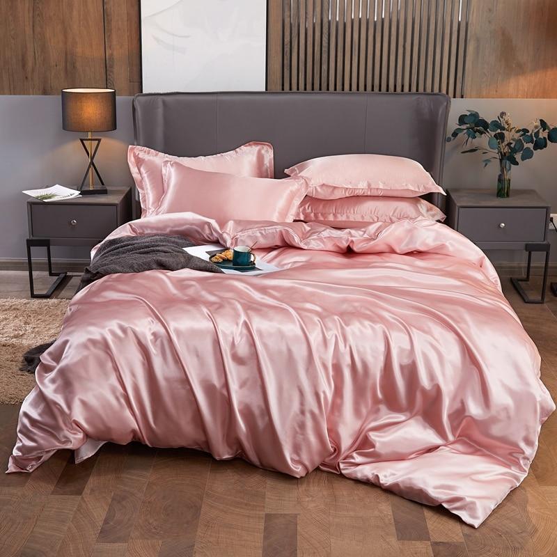 2021 جديد رايون فراش بلون واحد مجموعات المنسوجات المنزلية التوأم الملكة سرير ملكي مجموعات الراقية حاف طقم أغطية