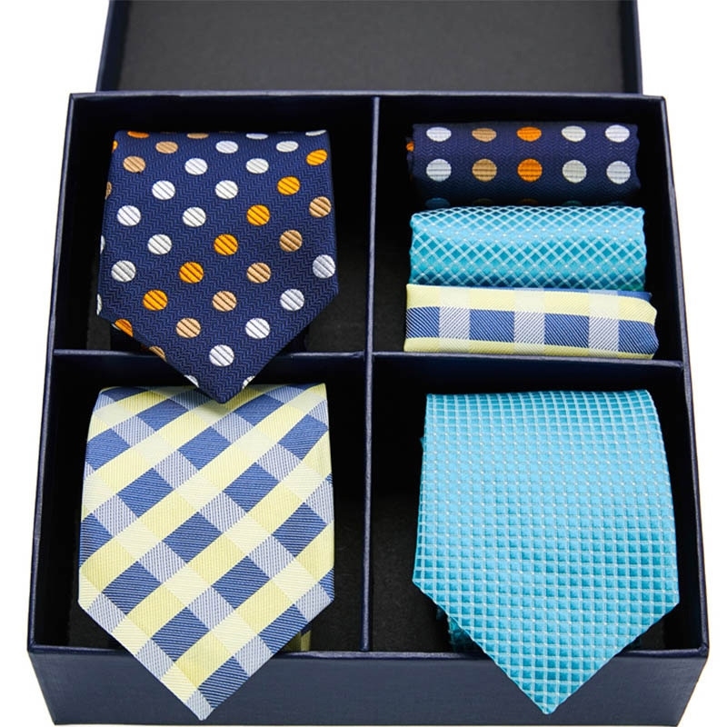 New Fashion Floral Tie Men's 7.5cm 100% Silk Necktie Handkerchief Set Formal Dress Wedding Set Ties For Men Gift Box