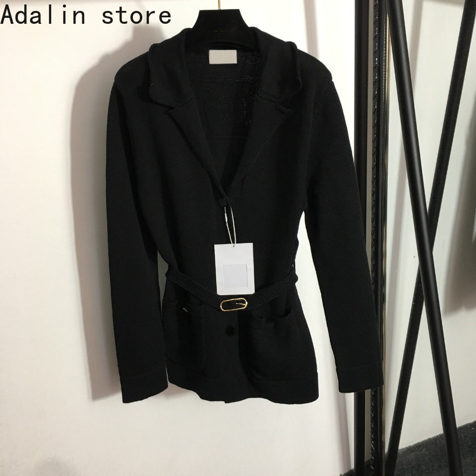 2021 high quality autumn new fashion women's Nail Drill single breasted slim fit Lapel long sleeve cardigan knitted sweater coat enlarge