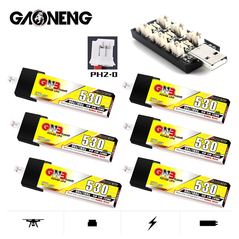 Gaoneng GNB 1S 530mAh 90C/180C 3.8V HV LiPo Battery Charger Set For RC Helicopter Quadcopter FPV Rac