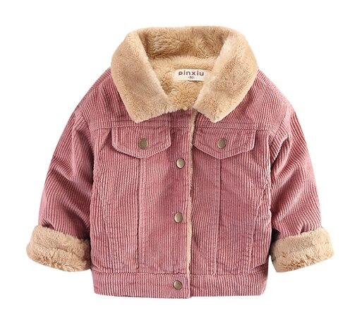 Otoño de los niños de invierno de la chaqueta de la ropa de los muchachos de las muchachas de la chaqueta del bebé de los niños de peluche de conejo grueso abrigo de solapa abrigo de pana