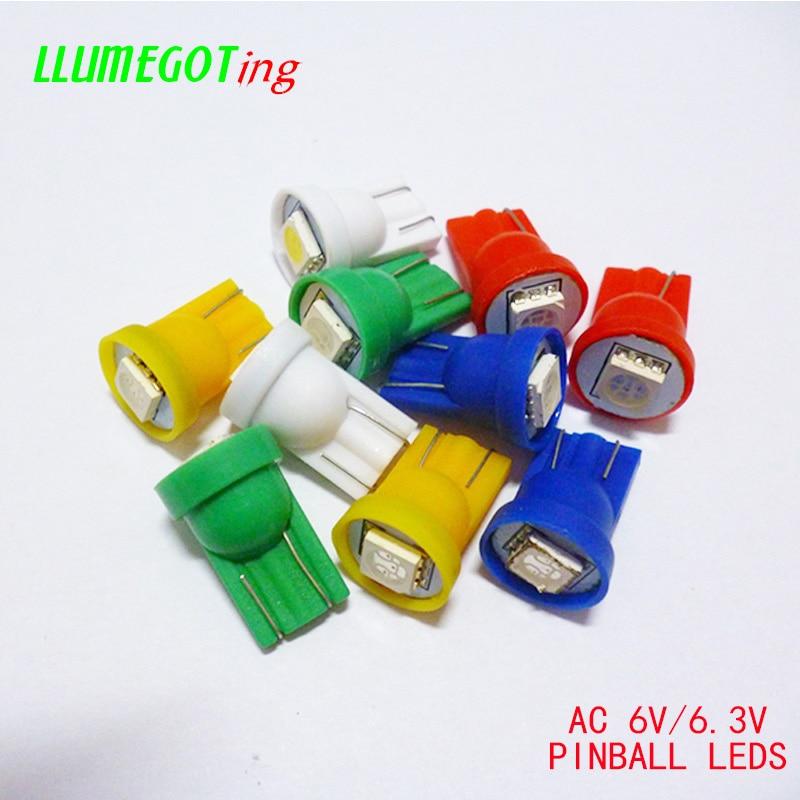 100 Uds 194 T10 #555 Wedge Base 1SMD 5050 6,3 V AC sin polaridad varios colores disponibles para Bally Pinball Game Machine bombillas