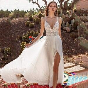 Eightree Sexy Beach Wedding Dresses 2021 Lace Backless Wedding Gowns V Neck Chiffon Split Side Cheap Bridal Dress Customized