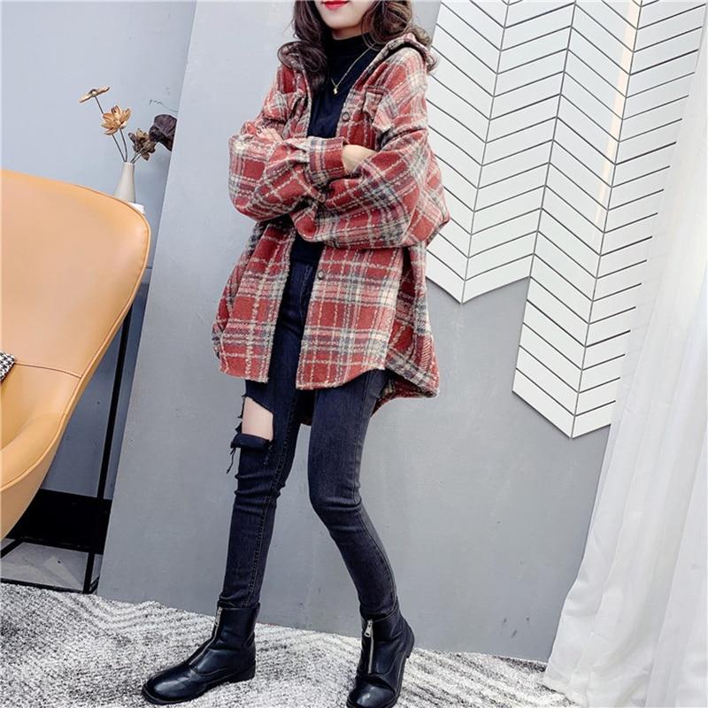 2021 Autumn Plaid Woolen Shirt Coat Women