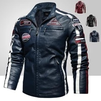 mens vintage motorcycle jacket men fashion new biker leather jacket male embroidery bomber coat winter fleece pu overcoatjacket