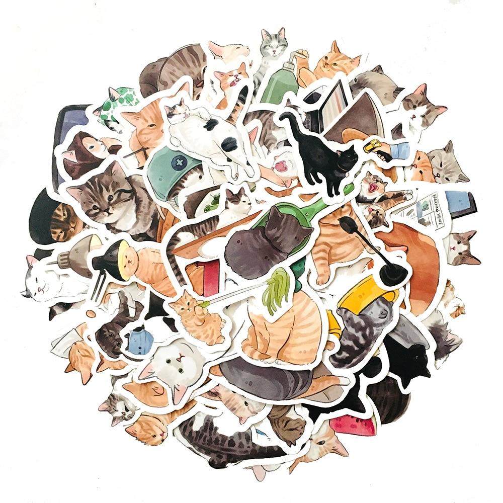 10-54-pcs-cute-cats-animale-graffiti-sticker-stile-misto-giocattoli-per-valigia-portatile-bike-bagagli-auto-motorino-di-skateboard-adesivo