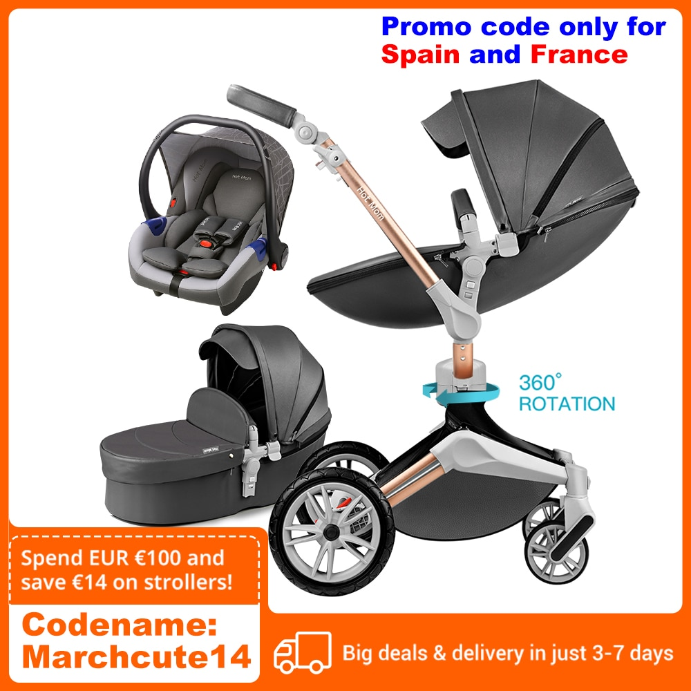 Hot Mom Baby Stroller 3 in 1 travel system with bassinet and car seat,360° Rotation Function chil