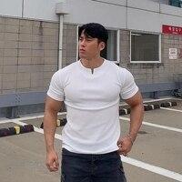 2021 new cotton men\'s gym V-neck short-sleeved T-shirt fitness bodybuilding shirt