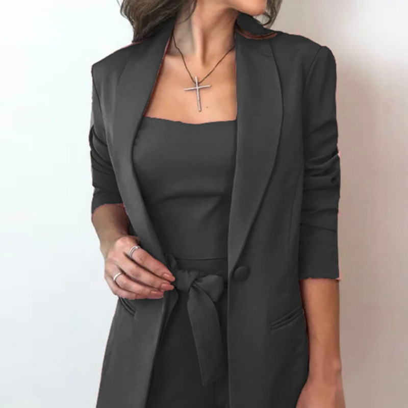 طقم بدلة عمل قصيرة من 3 قطع للنساء لباس عمل للمقابلة مع السترة زي رسمي ضيق قميص قصير سترة وشاحات بدلة مكتب للسيدات