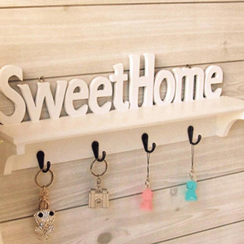 Perchas de pared DIY montaje de madera-plástico gancho de pared montado en la puerta perchero abrigo sombrero colgador de llaves soporte de almacenamiento del hogar WY