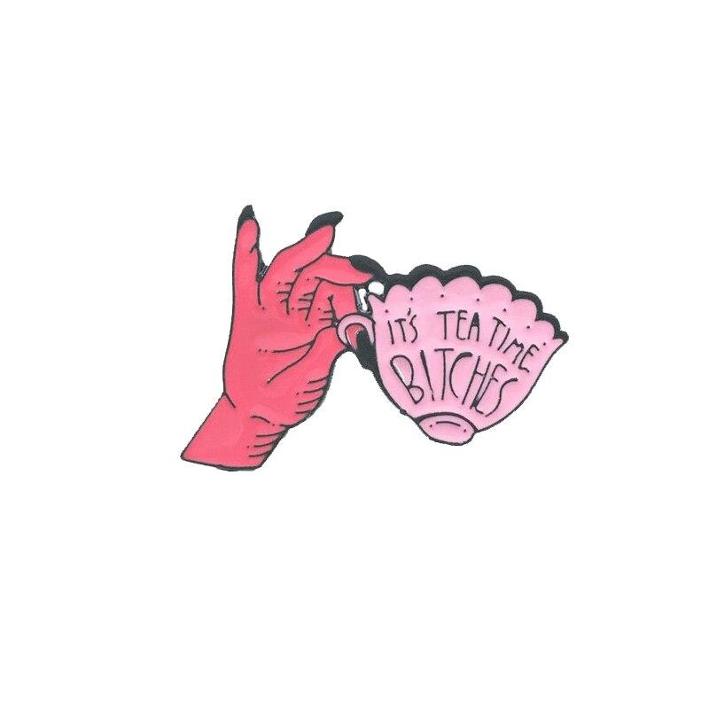 Это время чая розовая чайная чашка металлическая Глянцевая Брошь Красная ручная кофейная чашка значок уникальный модный костюм рюкзак ювелирный подарок