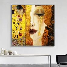 SELFLESSLY Art Gustav Klimt Gouden Tranen En Kus Canvas Schilderijen Wall Art Gedrukt Foto Beroemde Schilderij Klassieke Art Decor
