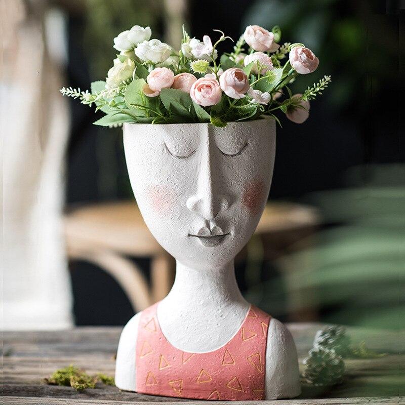 Art Portrait Flower Pot Vase Sculpture Resin Human Face Family Flower Pot Handmade Garden Storage Flower Arrangement Home Decor