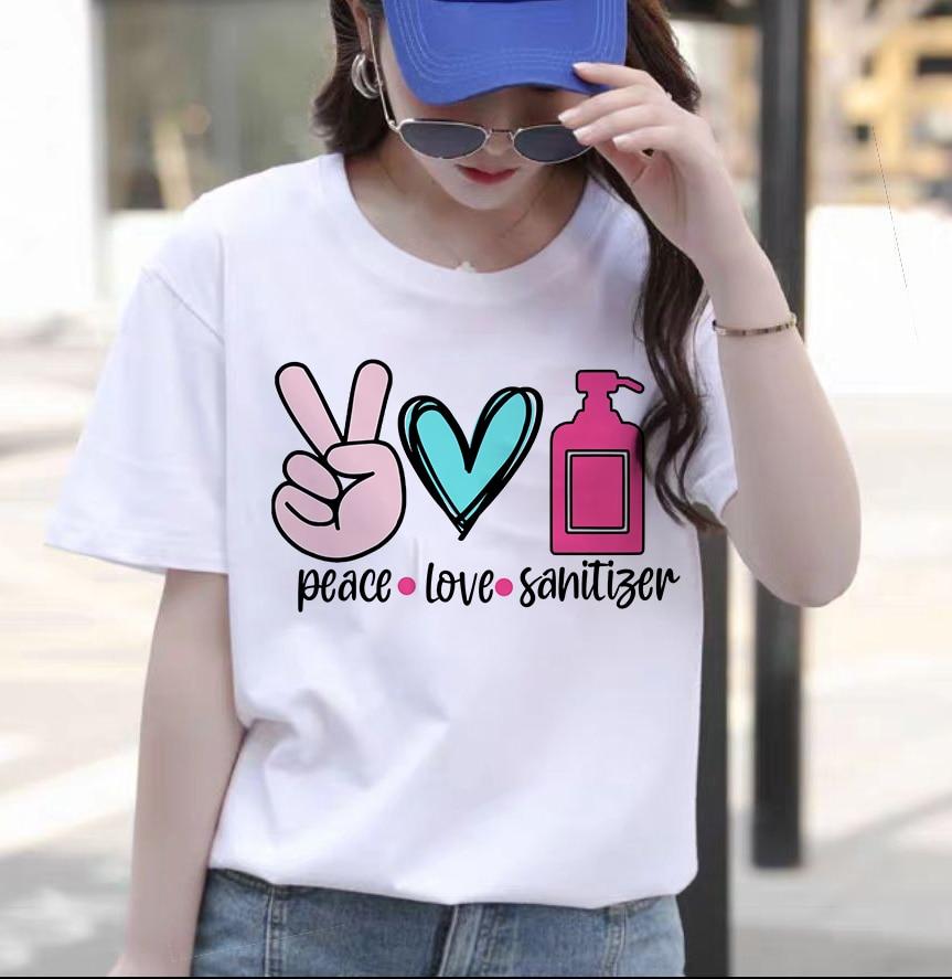 Frauen T-Shirt Mode Rundhals Baumwolle Vier Jahreszeiten Harajuku Retro Lose Straße Hip Hop Liebe Lustige Günstige T-shirt