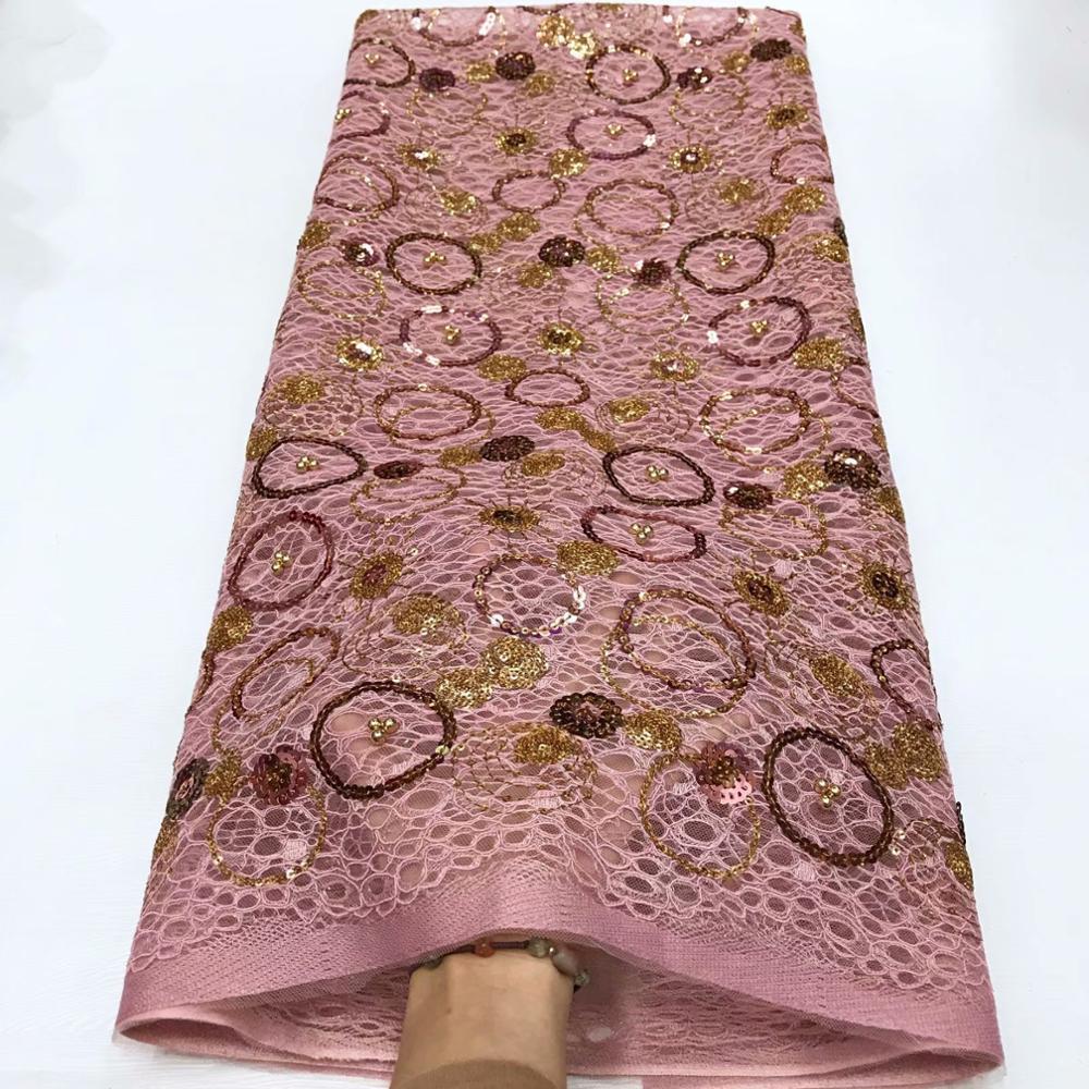 Envío gratis (5 yardas/pieza) tejido de encaje de organza cortado a mano africano rosa con bordado de lentejuelas para vestido FY123