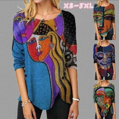Women's T-shirt New Loose Irregular Hem Pullover Long Sleeve Printed Round Neck Sweatshirt Large Size pink plain round neck long sleeves tassel hem t shirts